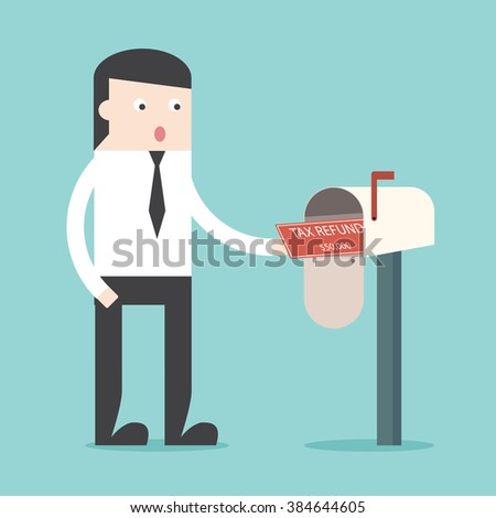 Officeman got Tax refund cheque in mailbox. TAX refund check. TAX spending. Flat design business financial marketing commercial banking web minimal concept cartoon illustration. - stock vector