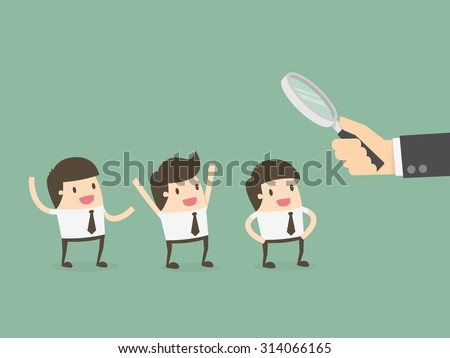 Officer looking for employee. Human resources concept - stock vector