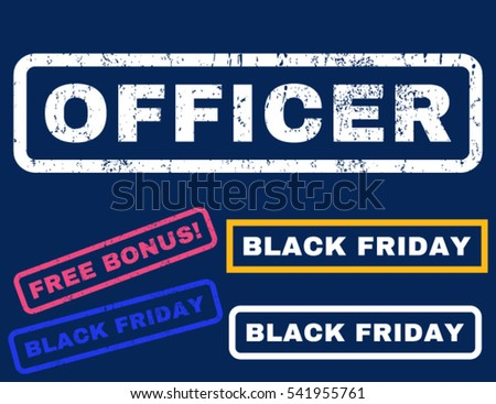Officer rubber seal stamp watermark with bonus design elements for Black Friday offers. Vector bright multicolored signs. Text inside rectangular shape with grunge design and scratched texture.