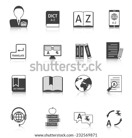 Official documents translation for legal equivalence and online english dictionary black icons collection abstract isolated vector illustration - stock vector