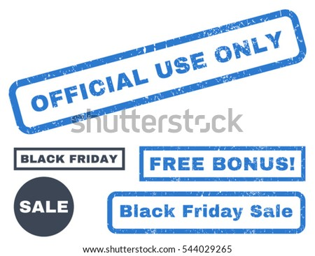 Official Use Only rubber seal stamp watermark with additional images for Black Friday sales. Vector smooth blue signs. Caption inside rectangular shape with grunge design and dust texture.