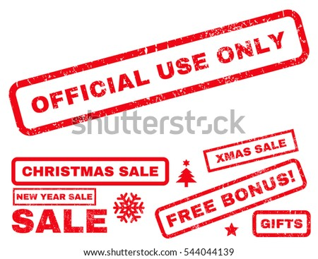 Official Use Only rubber seal stamp watermark with additional images for Christmas and New Year sales. Tag inside rectangular shape with grunge design and dirty texture. Vector red signs.