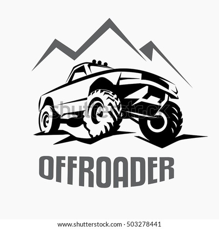 offroad suv car monochrome template labels stock vector royalty rh shutterstock com off road logo maker off road logo png