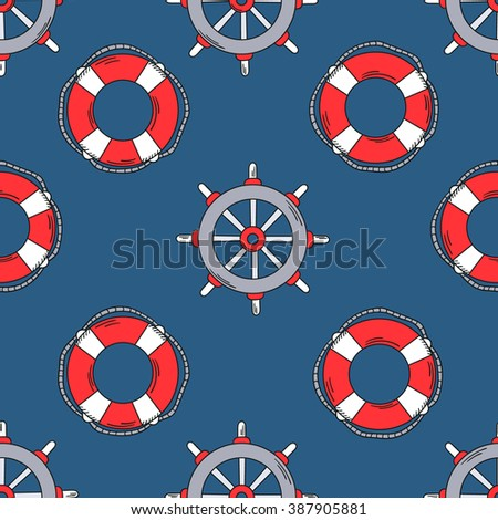 Offshore hand drawn seamless pattern. Colorful marine background. Backdrop with lifebuoys and marine helm icons set. Decorative wallpaper, good for printing