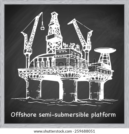 Offshore oil drilling platform. EPS10 vector illustration in a sketchy style imitating scribbling on the blackboard. - stock vector