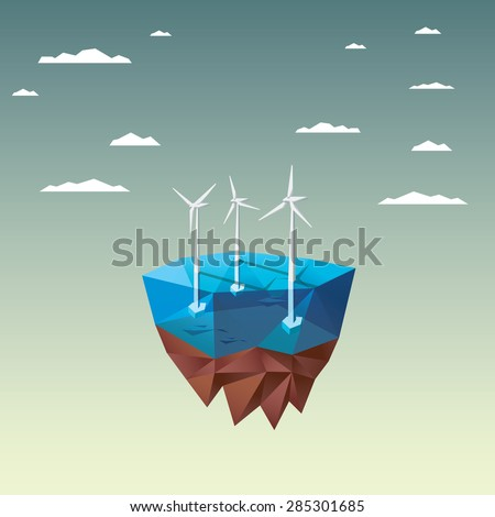 Offshore wind farm concept with in modern low polygonal floating island design. Ecological background suitable for presentations. Eps10 vector illustration. - stock vector
