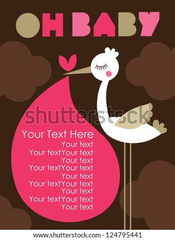 oh baby card design. vector illustration - stock vector