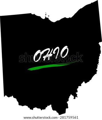Ohio map vector in black and white background, Ohio map outlines in a new design - stock vector
