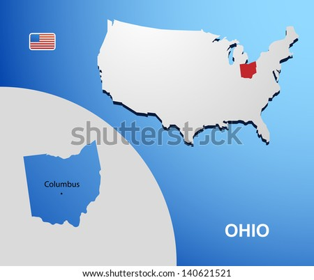 Ohio on USA map with map of the state