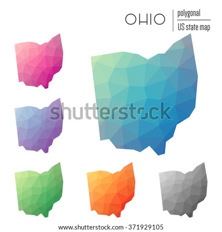 Ohio state map in geometric polygonal style. Set of Ohio state maps filled with abstract mosaic, modern design background. Multicolored state map in low poly style - stock vector