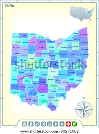 Ohio State Map with Community Assistance and Activates Icons Original Illustration - stock vector