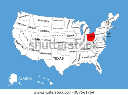 Ohio State Usa Vector Map Isolated Stock Vector - United states map ohio