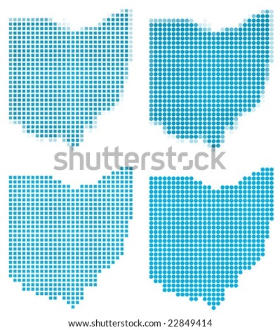 Green Gradient Ohio Map Usa Detailed Stock Illustration - Ohio in map of usa