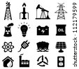 Oil and energy related icon set - stock photo