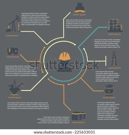 oil and gas industry infographic set  vector illustration engineer - stock vector