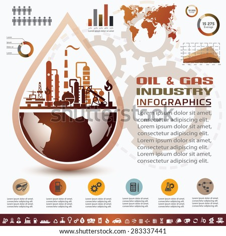 oil and gas industry infographics, extraction, processing and transportation - stock vector