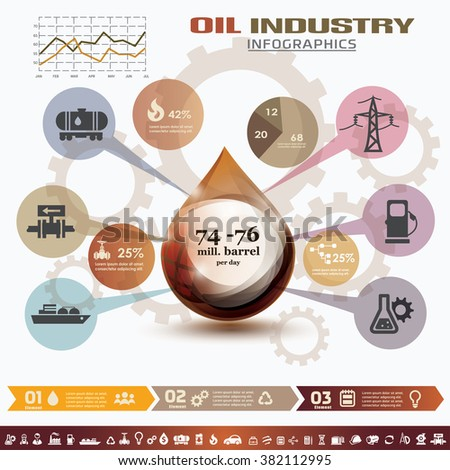 oil and gas industry infographics, extraction, processing and trasportation - stock vector