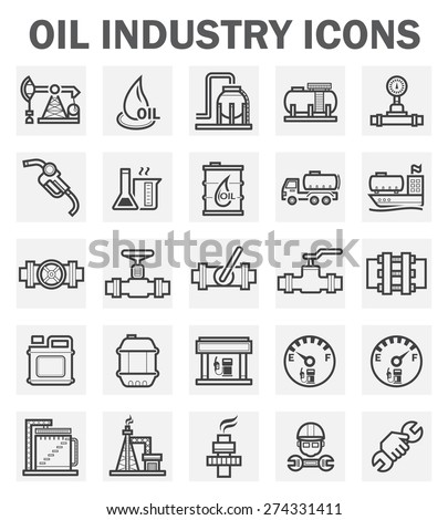 Oil and gas industry vector icon sets. - stock vector
