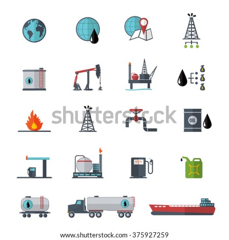 Oil and petrol icon set - stock vector
