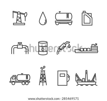 Oil and petrol industry line icon set. Tanker and fuel, energy industry, vector illustration - stock vector