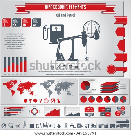 Oil and petrol - infographic elements and Icon set - stock vector