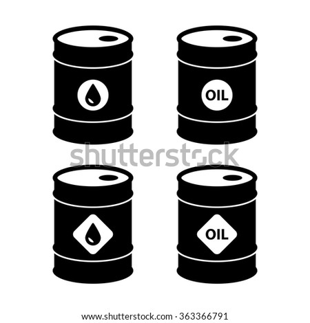oil barrel icons. isolated on white background. vector illustration - stock vector