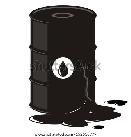 Oil barrel leaking - stock vector