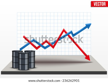 Oil barrel on the background graphics prices. The rise in price and cheaper petroleum. Vector Illustration. - stock vector