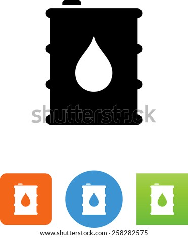 Oil barrel with drop. Vector icons for video, mobile apps, Web sites and print projects. - stock vector