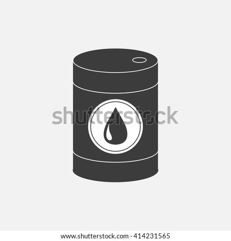 Oil barrel with oil drop sign icon.  Isolated. Black sign on white background. Oil droplet. Flat design. Vector illustration - stock vector