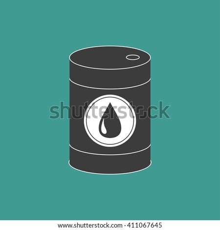 Oil barrel with oil drop sign icon.  Isolated. Green background. Oil droplet. Flat design.  Vector illustration - stock vector