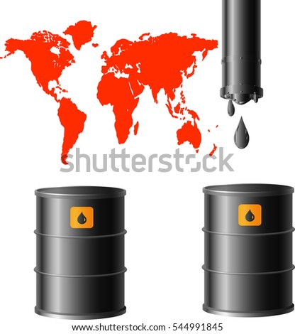 oil barrels and a red image of the planet on a white background