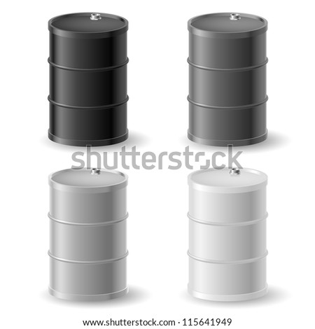 Oil barrels. Gray icons set on white - stock vector