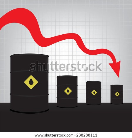 Oil barrels on Decline chart diagram and red down arrow background vector - stock vector