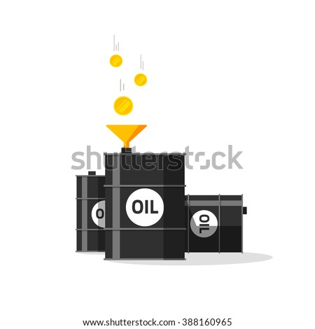 Oil barrels with funnel, gold coins falling to oil tanks, conversion, strategy, rich economy, currency exchange, production, expensive raw materials modern vector design isolated white background - stock vector