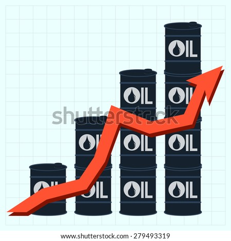 Oil barrels with price graph, vector illustration - stock vector