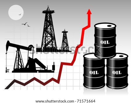 Oil barrels with price graph, vector illustration