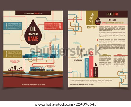 Oil company corporate flyer brochure flat design template face and back - stock vector