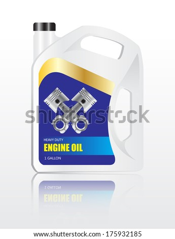 oil container or gallon with label with reflect vector images - stock vector