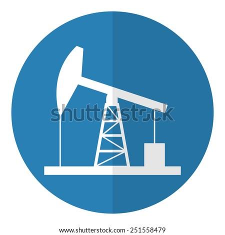 Oil derrick icon. Flat style. Vector illustration. - stock vector