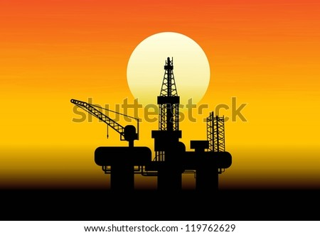 Oil derrick in sea for industrial design. - stock vector