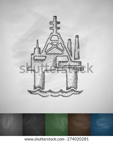 oil derrick in sea icon. Hand drawn vector illustration. Chalkboard Design - stock vector