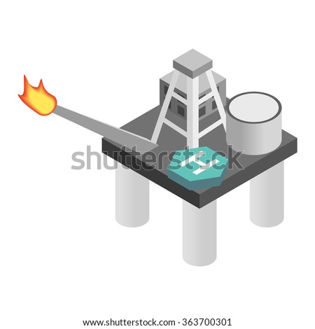 Oil derrick in sea isometric 3d icon. Single illustration isolated on a white background - stock vector