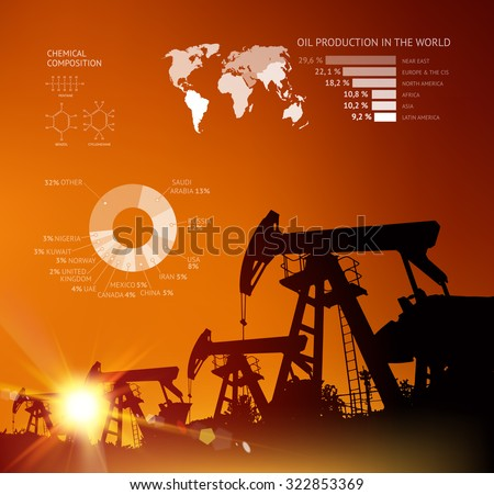 Oil derrick infographic with stages of process oil production. - stock vector