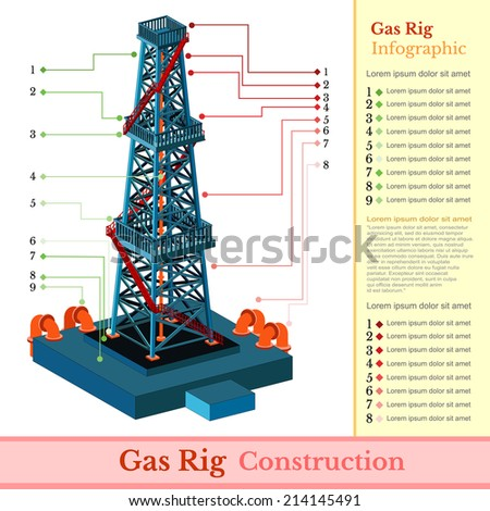 oil derrick tower or gas rig info graphic on white - stock vector