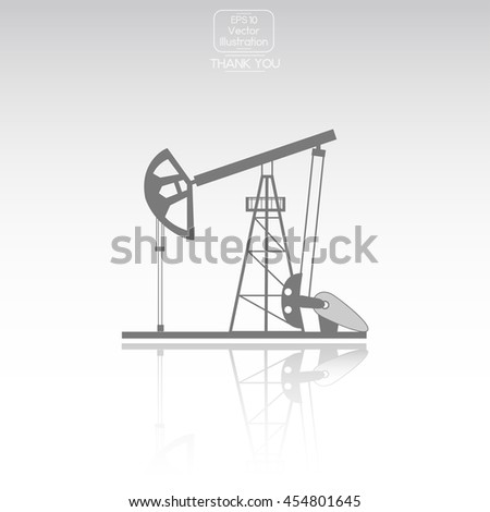Oil derrick. Vector icon. - stock vector