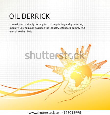 Oil derricks around the planet in woman hand. Vector illustration, eps 10, contains transparencies. - stock vector