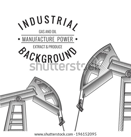 Oil derricks on white as a concept of oil industry. Vector illustration. - stock vector
