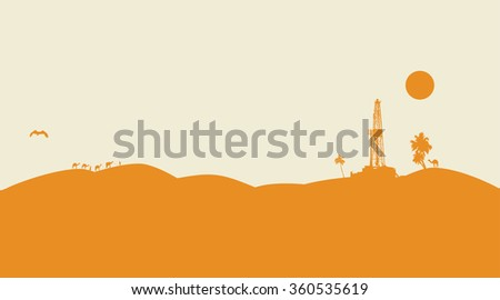 Oil drilling vector background - stock vector