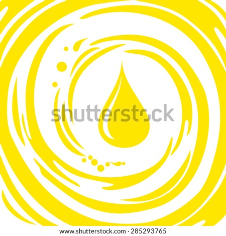oil drop isolate on white background. Yellow background with drop of oil and place for your text. Vector Illustration - stock vector